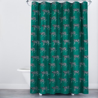 Panther Print Shower Curtain Green - Opalhouse™