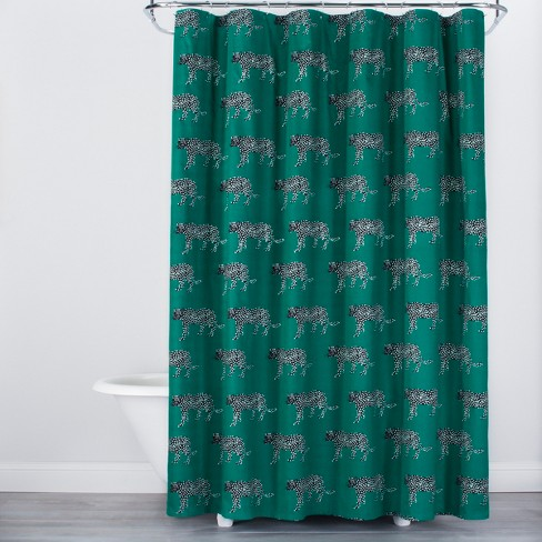 Panther Print Shower Curtain Green Opalhouse Target