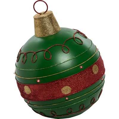 Transpac Metal 18 in. Red Christmas Light Up Ornament Decor