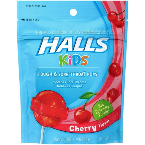 Halls Kids' Cough & Sore Throat Pops - Cherry - 10ct - image 1 of 4