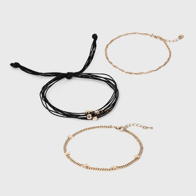 Shiny Gold with Cord Anklet Set - Wild Fable™ Black