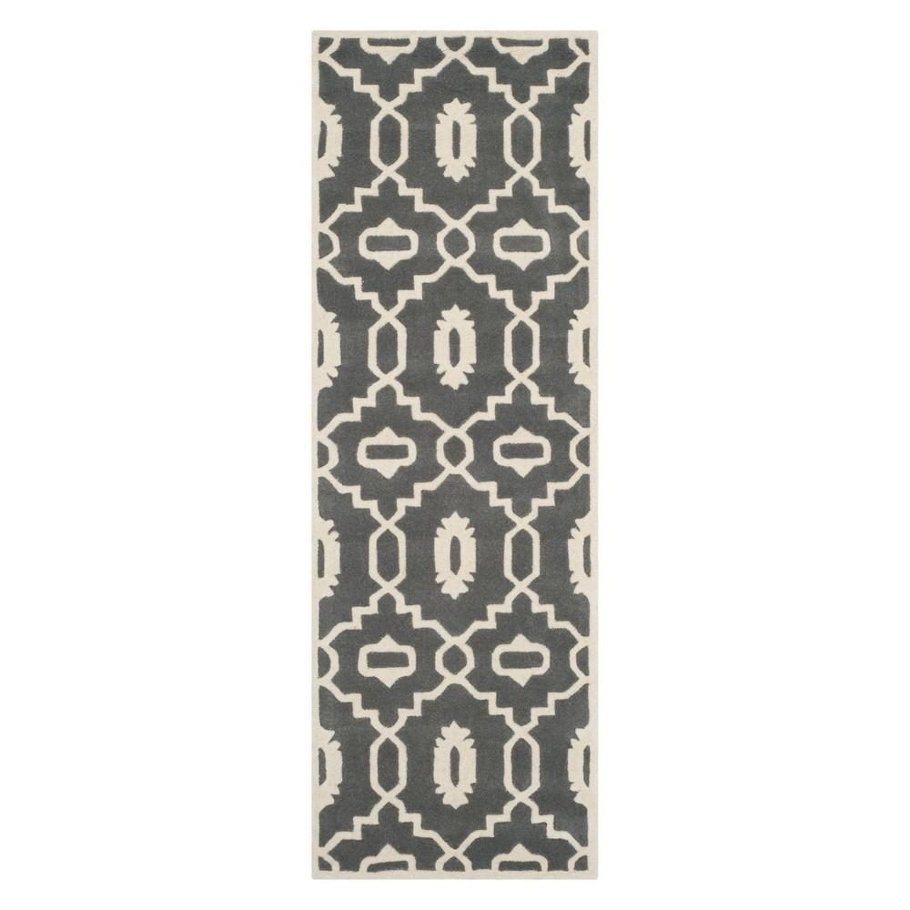 23X7 Geometric Runner Dark Gray/Ivory - Safavieh Cheap