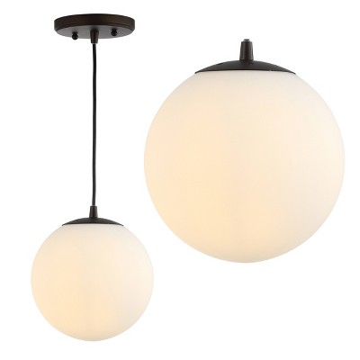 "7.75"" Metal/Glass Bleecker Globe Pendant (Includes Energy Efficient Light Bulb) - JONATHAN Y"