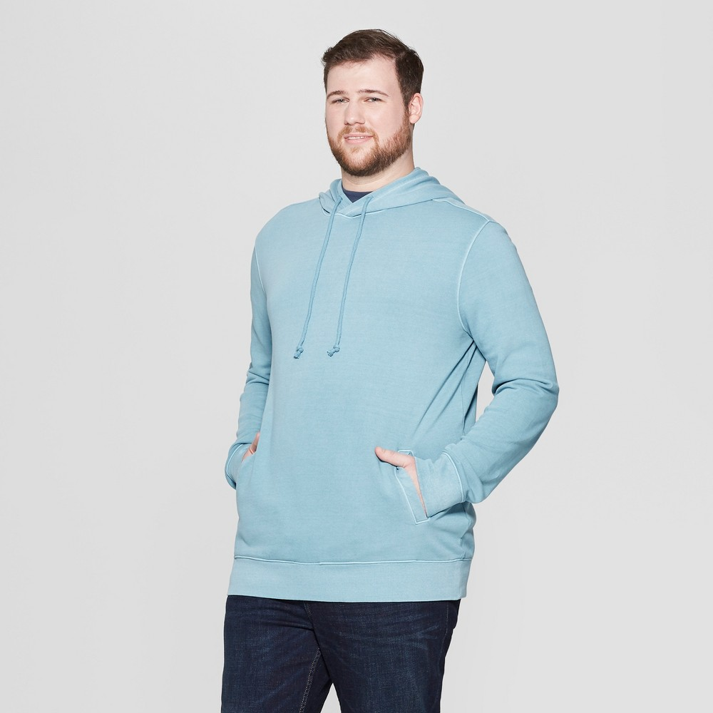 Men's Big & Tall French Terry Pull Over Hoodie - Goodfellow & Co Blue Cohosh 2XB
