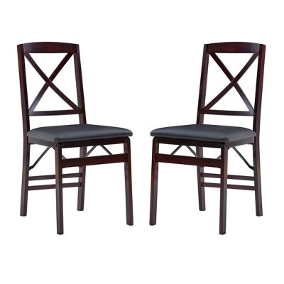 Set of 2 Triena X Back Folding Chair Upholstered Seat Espresso - Linon