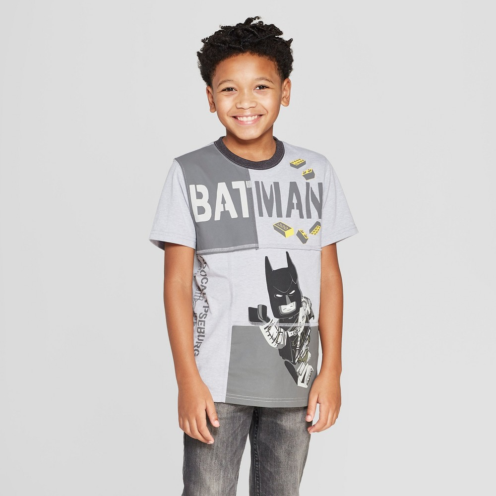 Boys' The Lego Movie 2 Batman Pieced Short Sleeve T-Shirt - Gray L