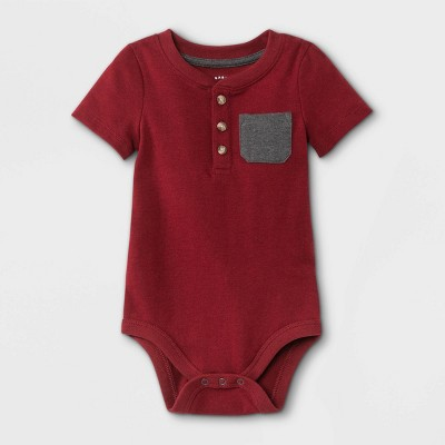 Baby Boys' Henley Short Sleeve Bodysuit with Pocket - Cat & Jack™ Maroon 0-3M