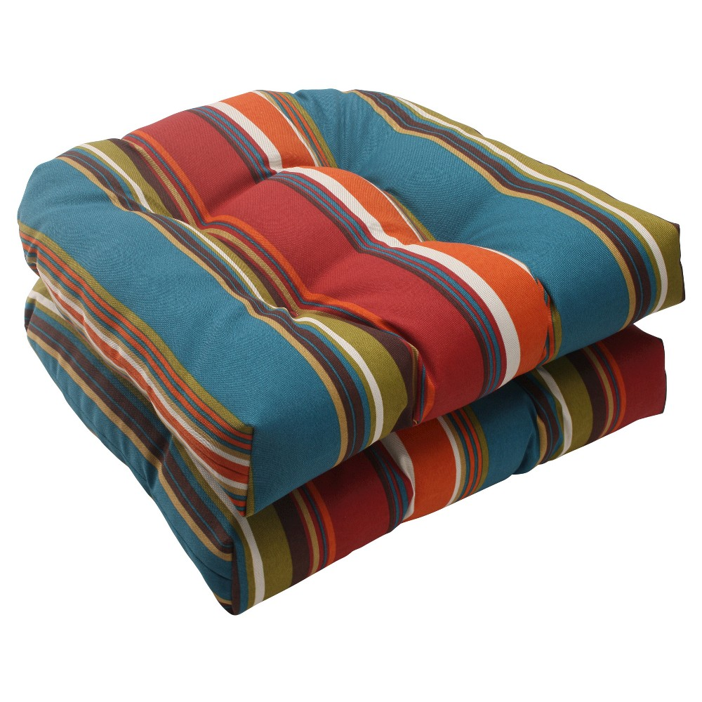 Outdoor 2 Piece Wicker Seat Cushion Set Brown Red Teal Stripe