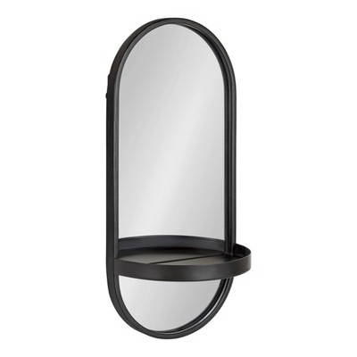 "11"" x 24"" Estero Metal Wall Mirror with Shelf Black - Kate and Laurel"