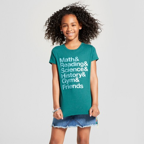 Girls' Short Sleeve Math & Reading Graphic T-Shirt - Cat & Jack™ Green - image 1 of 3