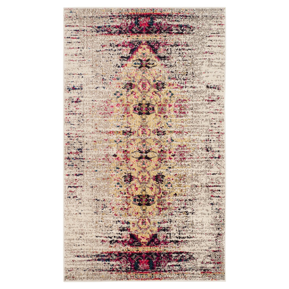 Ivory/Pink Solid Loomed Accent Rug - (3'X5') - Safavieh