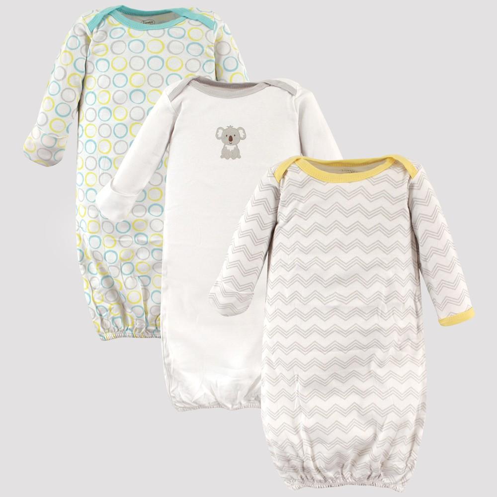Luvable Friends Baby Girls' 3pk Gowns, Koala - Gray 0-6M
