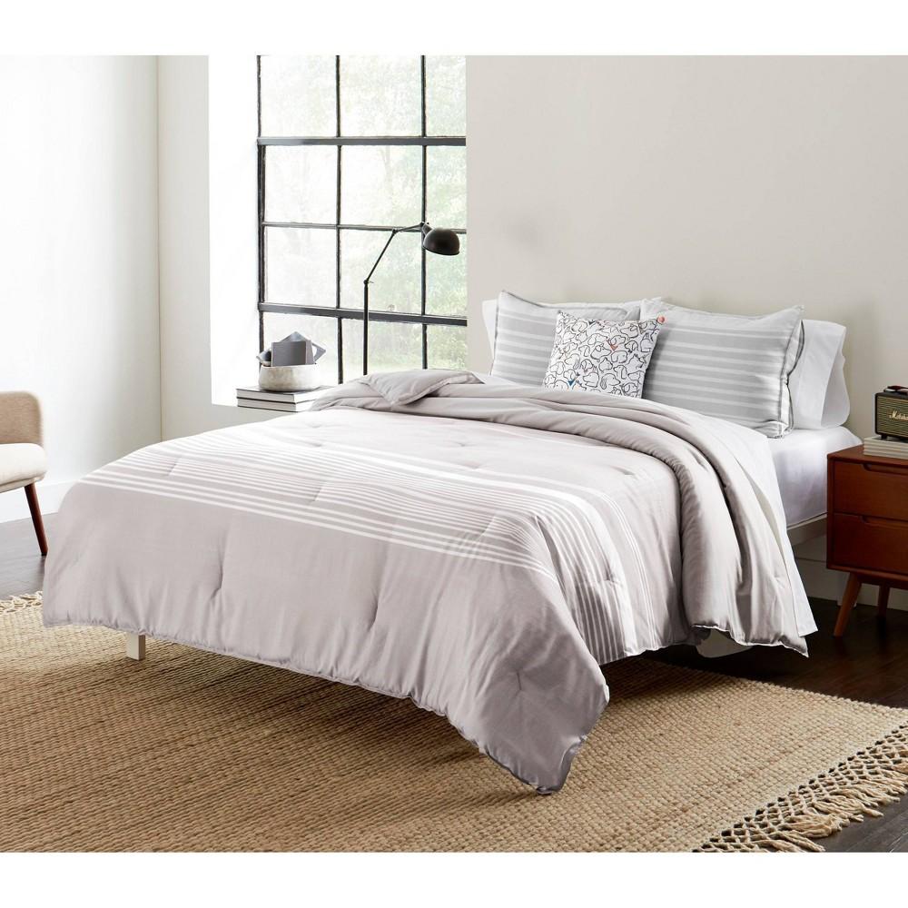 King 4pc Variegated Stripe Comforter Sham Bonus Set Gray Ed Ellen Degeneres