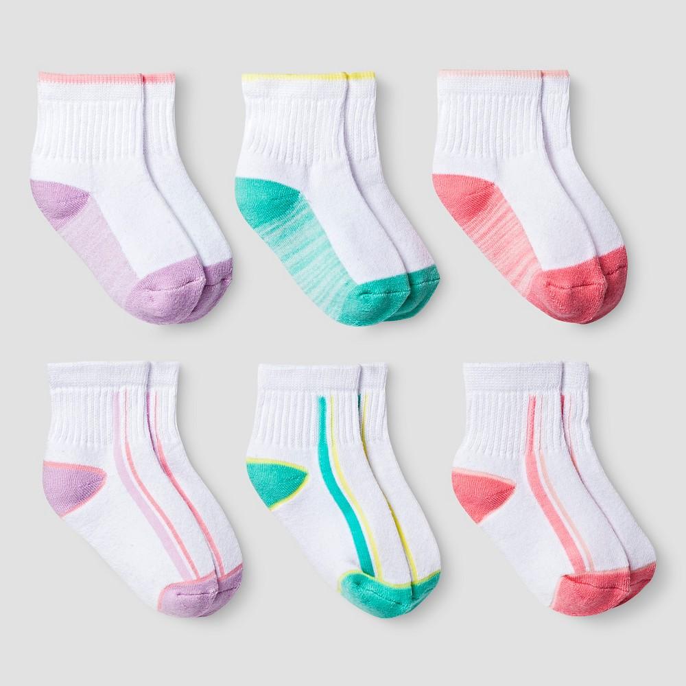 Girls' 6pk Cushioned Quarter Socks Cat & Jack - Multicolor 6-12M, Multicolored