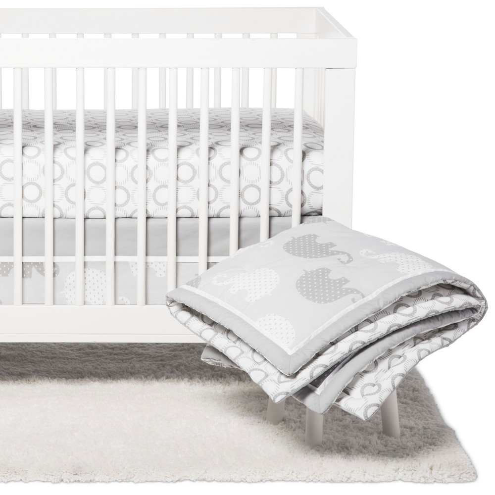 Image of NoJo Crib Bedding Set - Elephant Dream - 8pc - Gray