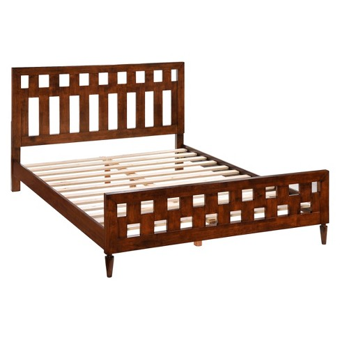 Mid-Century Modern Wood Slat System Bed - Walnut - ZM Home - image 1 of 6