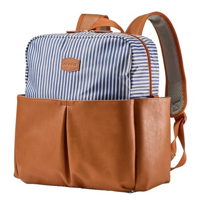 JJ Cole Popperton Boxy Backpack Diaper Bag - Ticking Stripe