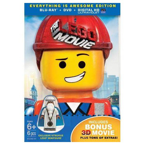 The LEGO Movie [3 Discs] [Includes Digital Copy] [UltraViolet] [With Minifigure] [3D/2D] [Blu-ray/DVD] - image 1 of 2
