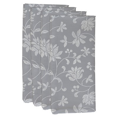 Gray Traditional Floral Print Napkin Set (19 X19 )- E By Design
