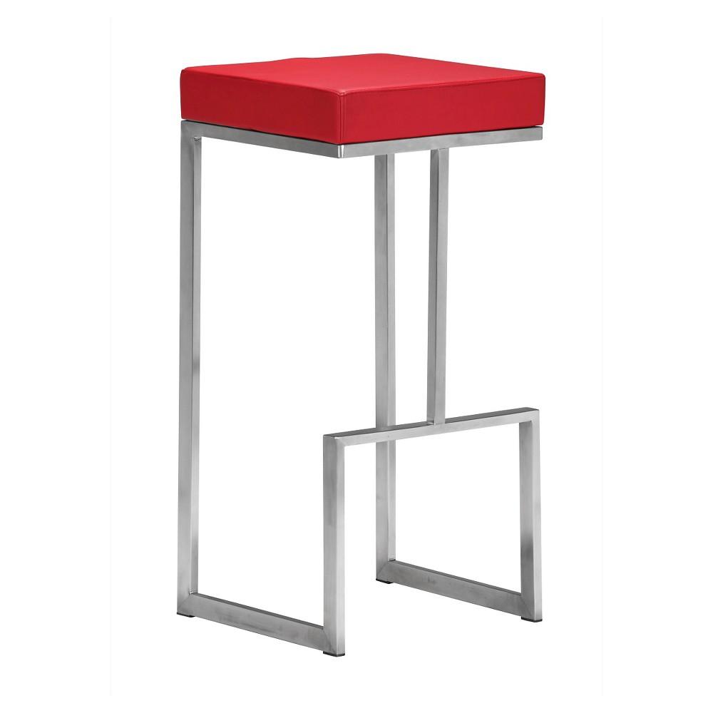Sophisticated Modern 30 Barstool - Red (Set of 2) - ZM Home