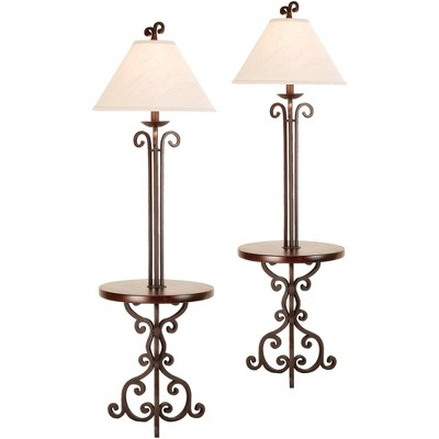 Franklin Iron Works Iron Scroll Wooden Tray Table Floor Lamps Set of 2