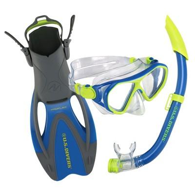 U.S. Divers Dorado II Junior Mask, ProFlex Fins, Seabreeze DX Snorkel Youth Set, Large Fins Fit Kids Sizes 5 to 8, Blue/Yellow