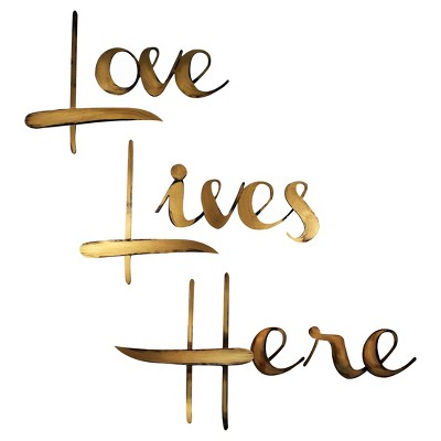 "30""x36 Hand Painted 3D Wall Sculpture Love Lives Here Gold - Letter2Word"