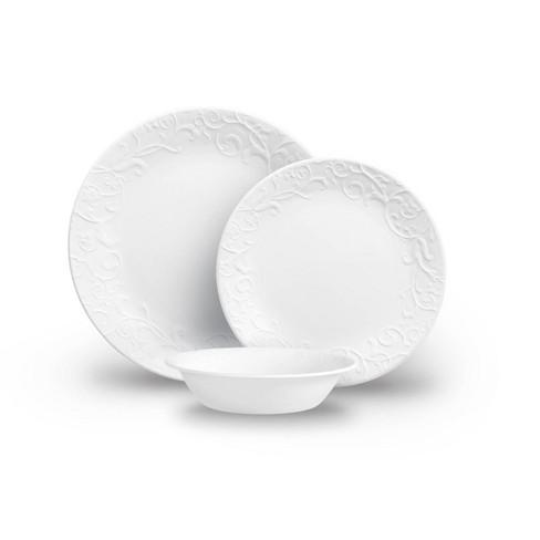 Corelle 18pc Vitrelle Embossed Bella Faenza Dinnerware Set White - image 1 of 4