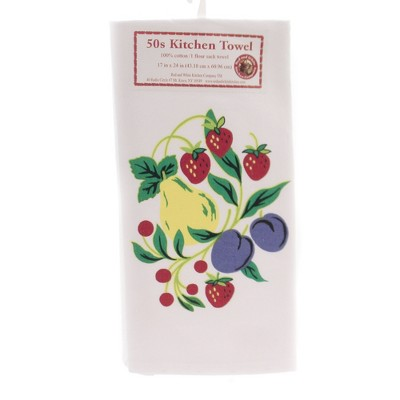 """Tabletop 24.0"""" Fruitgroup Flour Sack Towel 100% Cotton 50""""S Design Red And White Kitchen Company  -  Kitchen Towel"""