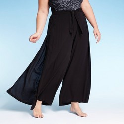 Women's Plus Size Beach Cover Up Pants - Kona Sol™ Black