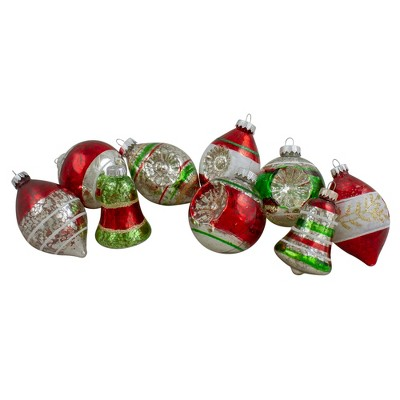 """Northlight 9ct Silver and Red 2-Finish Glass Christmas Finial Ornaments 3.25"""""""