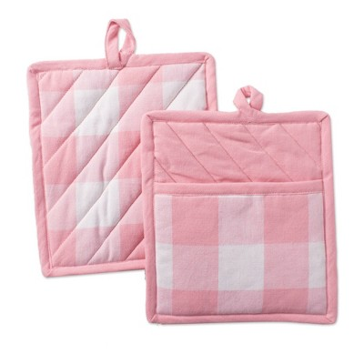 2pk Cotton Buffalo Check Kitchen Pot Holders Pink - Design Imports