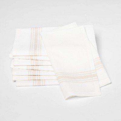 8pk Stain Resistance Tan Stripe Bistro Napkins - Threshold™