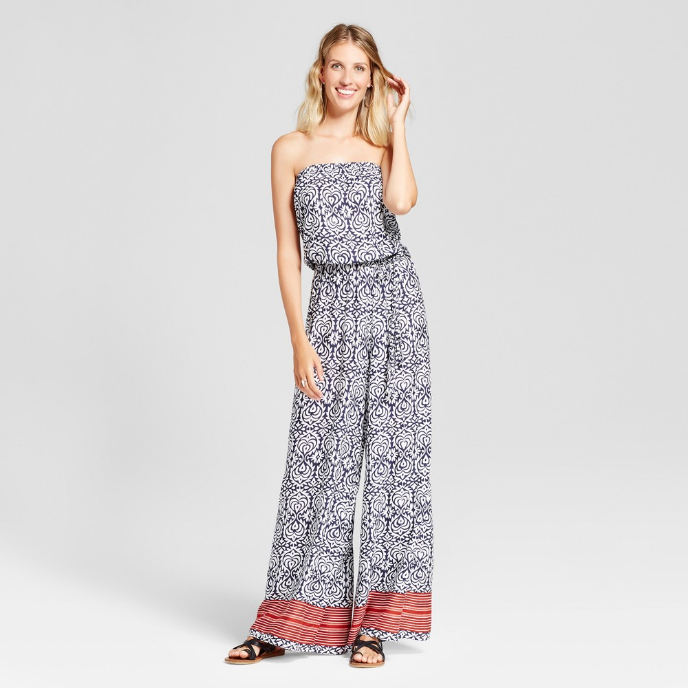Women's Boarder Print Cropped Jumpsuit - Chiasso - Navy L, Blue