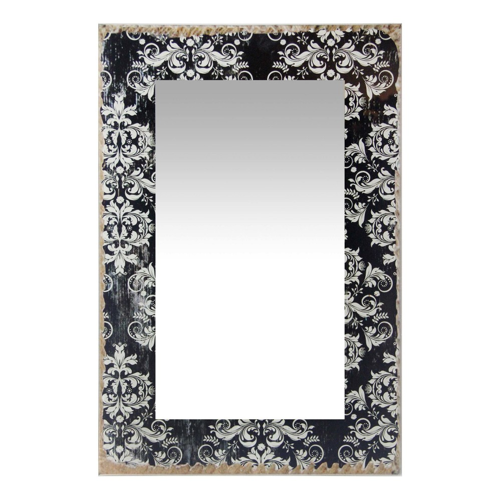 "Image of ""French Country Damask 23.5"""" X 15.75"""" Wall Mirror Black - Infinity Instruments, Multi-Colored"""