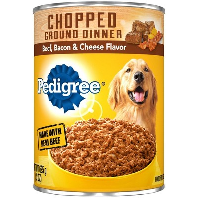 Pedigree Chopped Ground Dinner Wet Dog Food Beef, Bacon & Cheese Flavor - 22oz