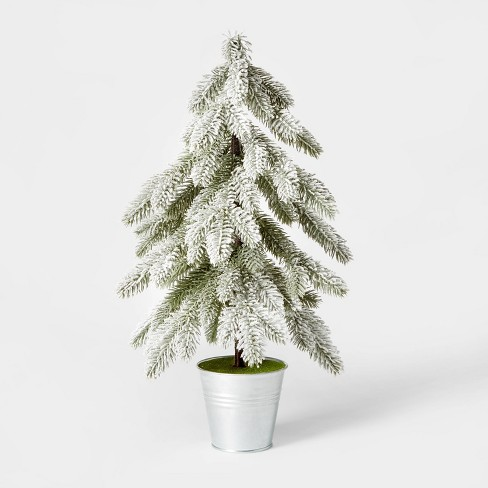 Large Flocked Christmas Tree in Galvanized Bucket Decorative Figurine Silver - Wondershop™ - image 1 of 2