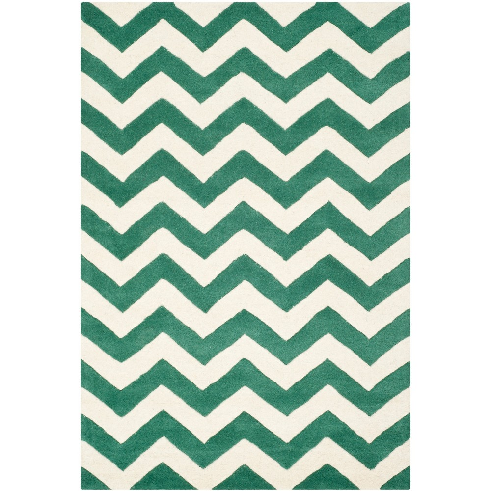 3 X5 Chevron Tufted Accent Rug Teal Ivory Safavieh