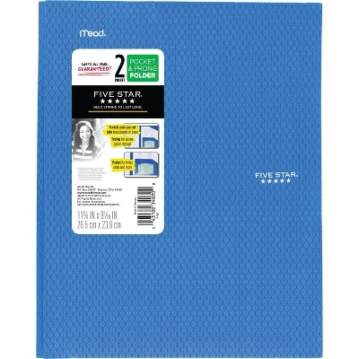 Five Star 2 Pocket Plastic Folder with Prongs (Color Will Vary)