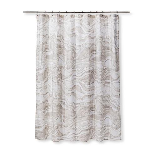 Marble Printed Shower Curtain Khaki
