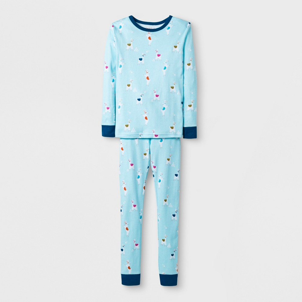 Girls' 2pc Tight Fit Long Sleeve Llama Graphic Pajama Set - Cat & Jack Blue 8