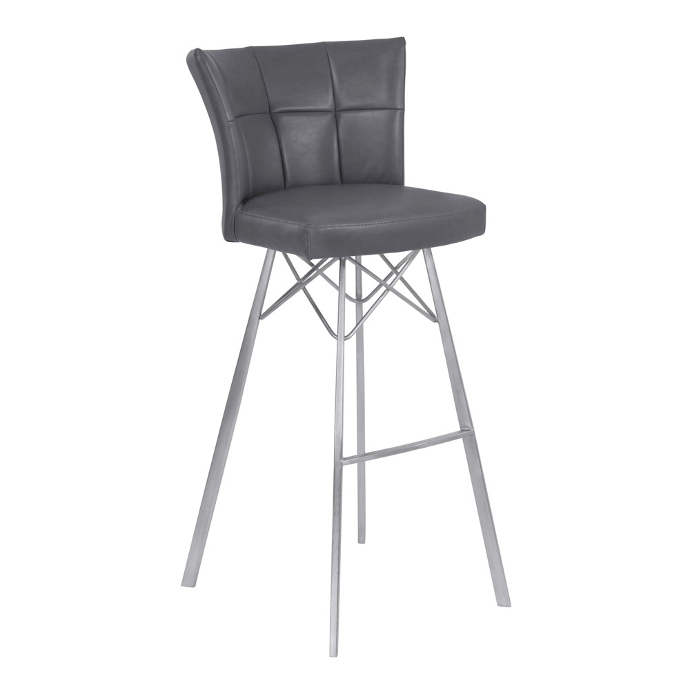 26 Spago Counter Height Metal Barstool in Vintage Gray Faux Leather with Brushed Stainless Steel Finish - Armen Living