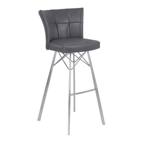 Amazing 26 Spago Counter Height Metal Barstool In Vintage Gray Faux Leather With Brushed Stainless Steel Finish Armen Living Gmtry Best Dining Table And Chair Ideas Images Gmtryco