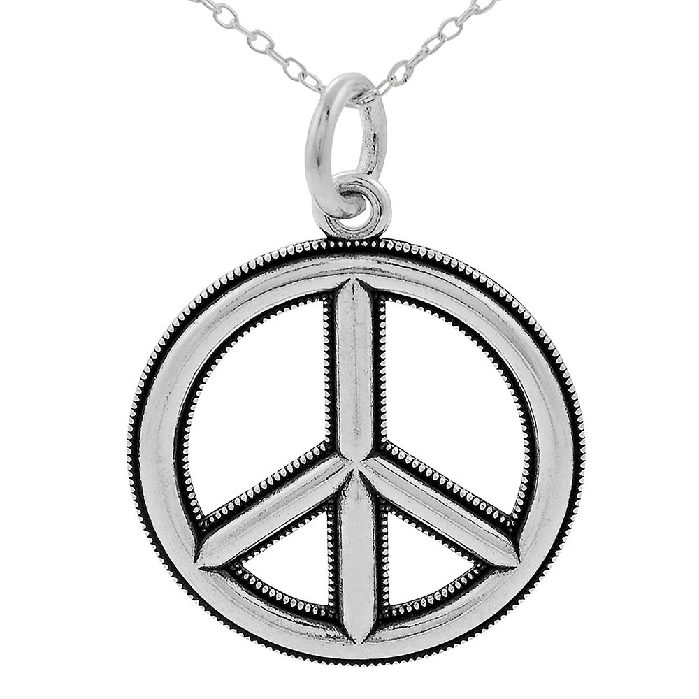 Women's Journee Collection Textured Edge Peace Sign Pendant Necklace in Sterling Silver - Silver (18)