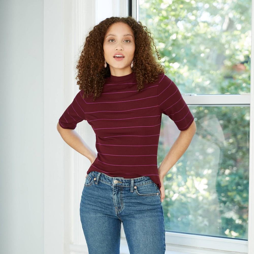 Women 39 S Striped Elbow Sleeve High Neck Rib T Shirt A New Day 8482 Burgundy Xl