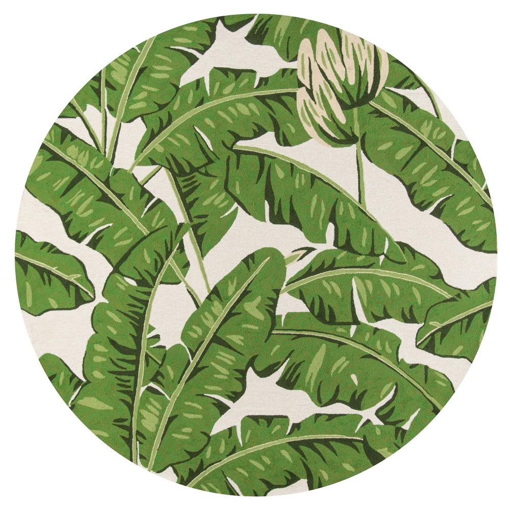 9'X9' Leaf Hooked Round Area Rug Green - Momeni