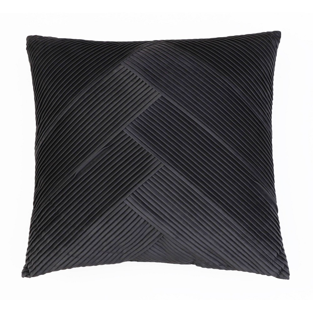 "Image of ""20""""X20"""" Abigail Pleated Velvet Pillow Dark Gray - Decor Therapy"""