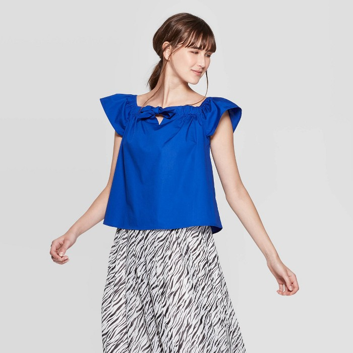 Women's Short Sleeve Off the Shoulder Cropped Bardot Top - Who What Wear™ - image 1 of 3