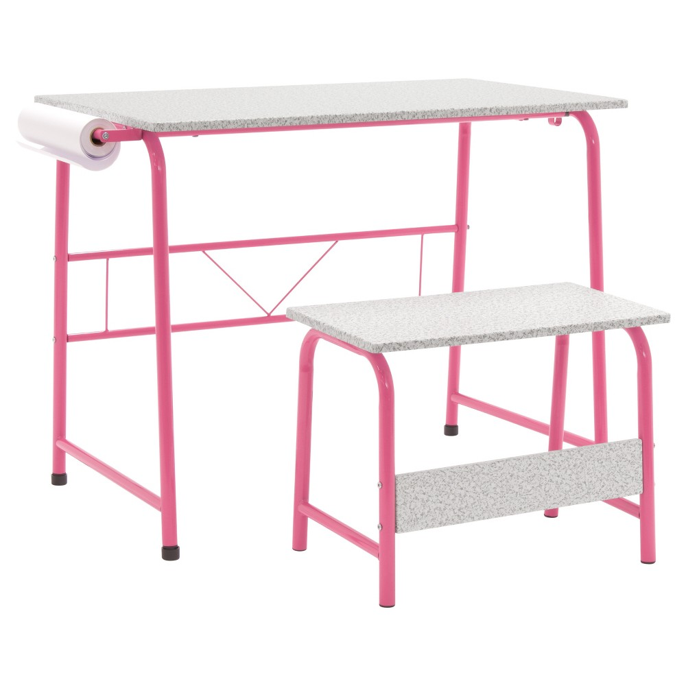 Image of 2pc Canvas & Color Art Center & Bench Pink/Gray - Studio Designs, Sweetheart Pink