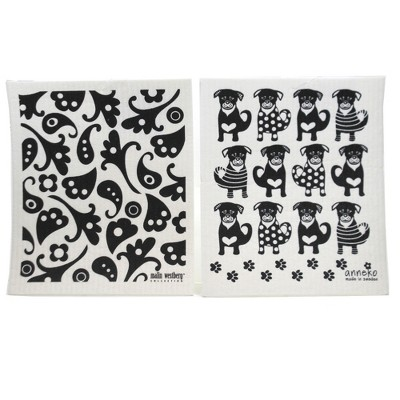 "Swedish Dish Cloth 7.75"" Black Dogs Black Flowers Dish Cloths Eco-Friendly Absorbant  -  Dish Cloth"